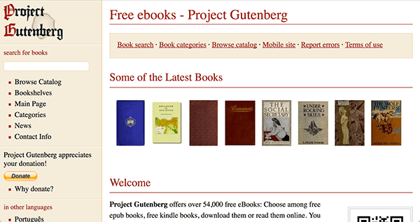 Le site du Projet Guttenberg