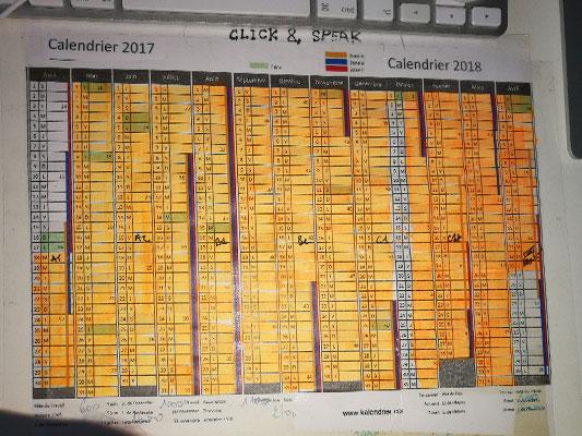 Un calendrier utilisé pour suivre ses progrès dans Click & Speak™