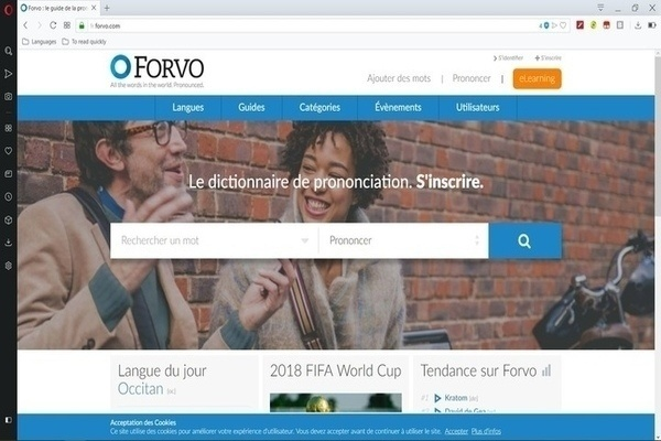 Page d'accueil Forvo pour trouver de l'audio