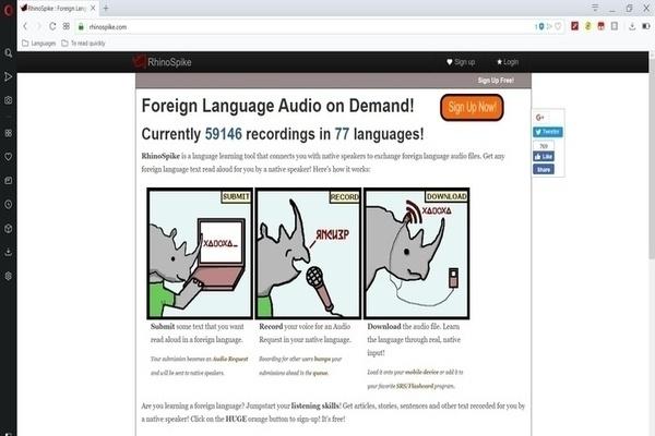 Rhinospike pour trouver de l'audio en anglais
